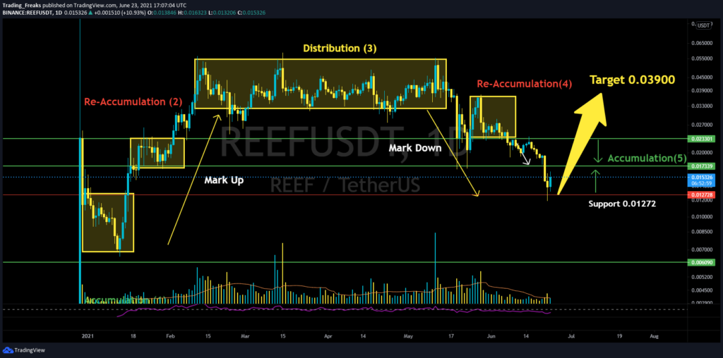 REEF coin price prediction - REEF/USDT Chart Showing Wyckoff Theory Pattern
